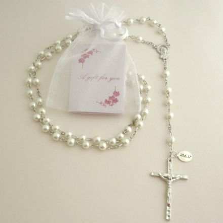 Personalised Rosary with Smaller Beads, White